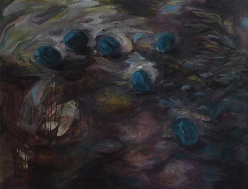 CHRYSTELE GONCALVES, Still (life with) rain, huile sur toile, 89 x 116 cm, 2019