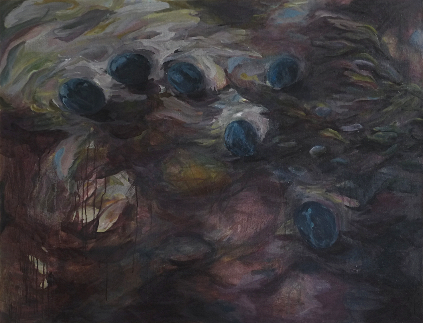 Chrystele GONCALVES Still(life_with)rain_2019_huilesurtoile_89X116cm