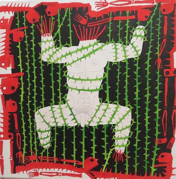 David Ortsman, sans titre, 2016, encres aquarelles et feutre inde_lebile sur toile, 80cm par 80cm