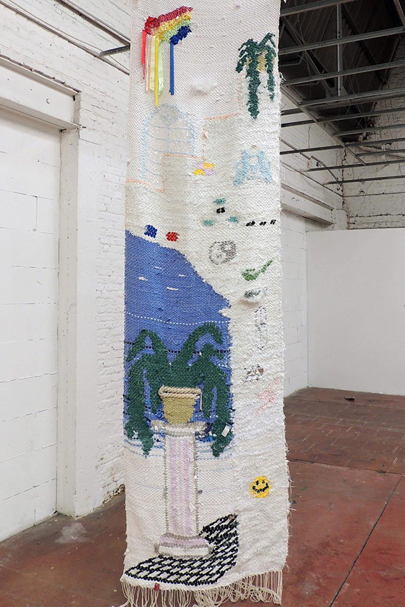 Delphine Dénéréaz, La Colonne, 2018, 85 x 400 cm, tissage de matériaux récupérés