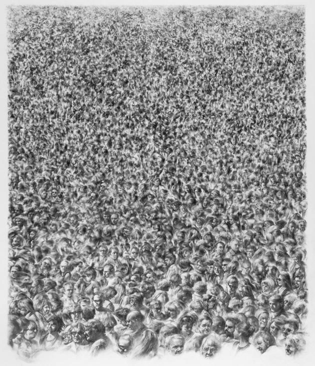 Foule, Crayon graphite sur papier, 150 x 120 cm
