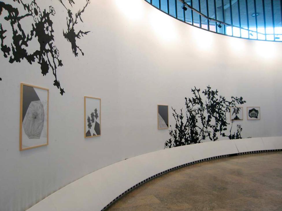 Les pâquerettes et géométrie variable (suite) peinture murale et 5 dessins, 2009 ; encre sur papier canson, 50x65cm
