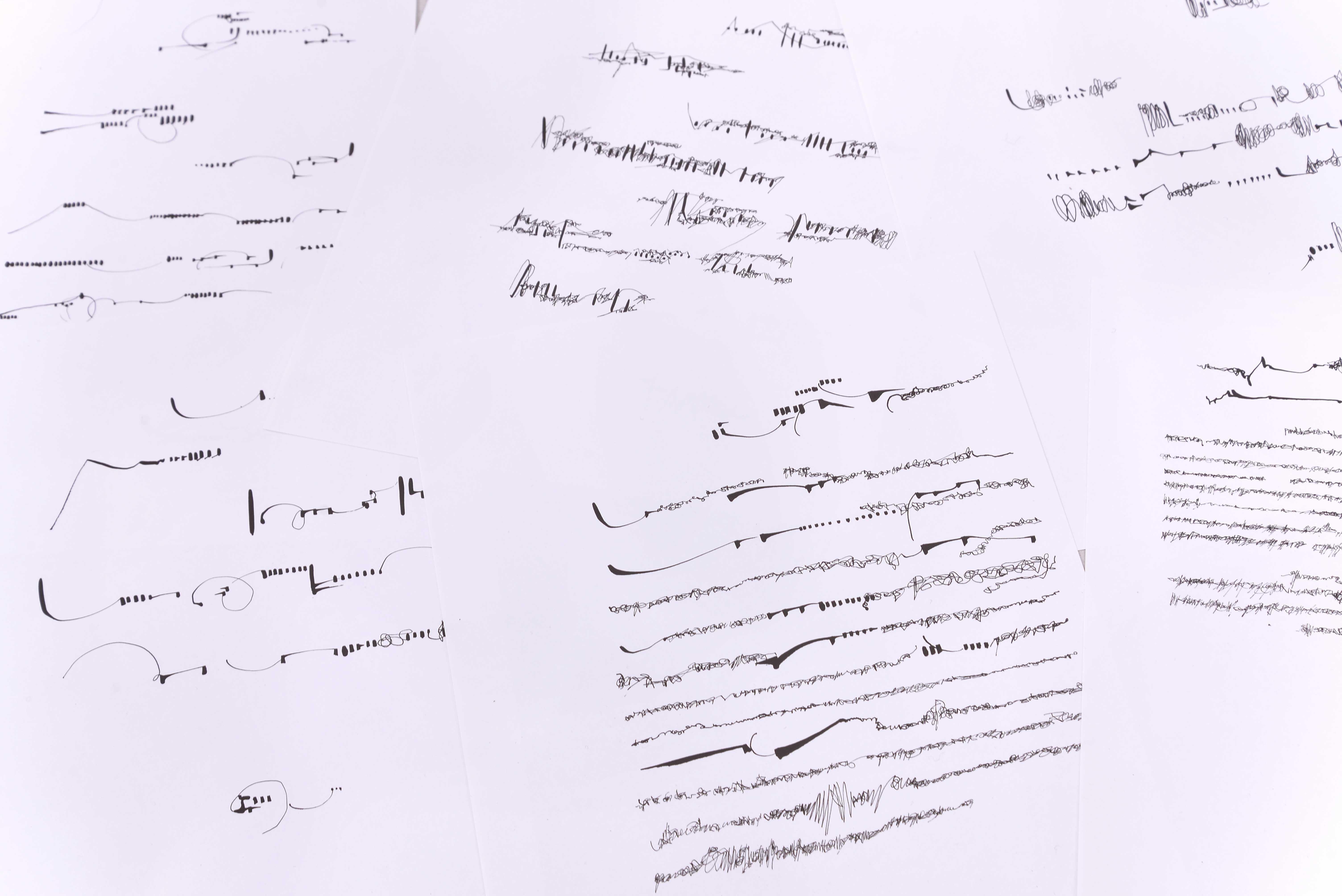 Mirtha Dermisache, Diez Cartas Collection, Florent Fajole, À l'heure du dessin, 6ème temps, Tracé - Château de Servières - © Aurélien Meimaris (21)