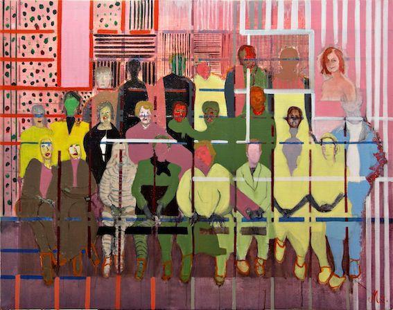 Monique Drif Les enfants de Beaumarchais 130X89cm acrylique