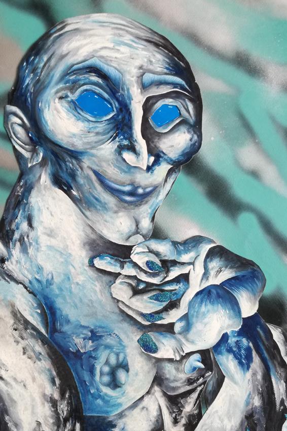 Nicolas.Perez.Portrait bleu (peinture à l.huilé aérosol, paillettes sur papier 70x50cm) Nicolas Perez