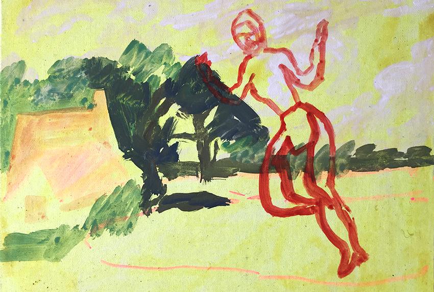 Florence Louise Petetin, Sans titre, tempera sur toile. 24x36 cm, 2019