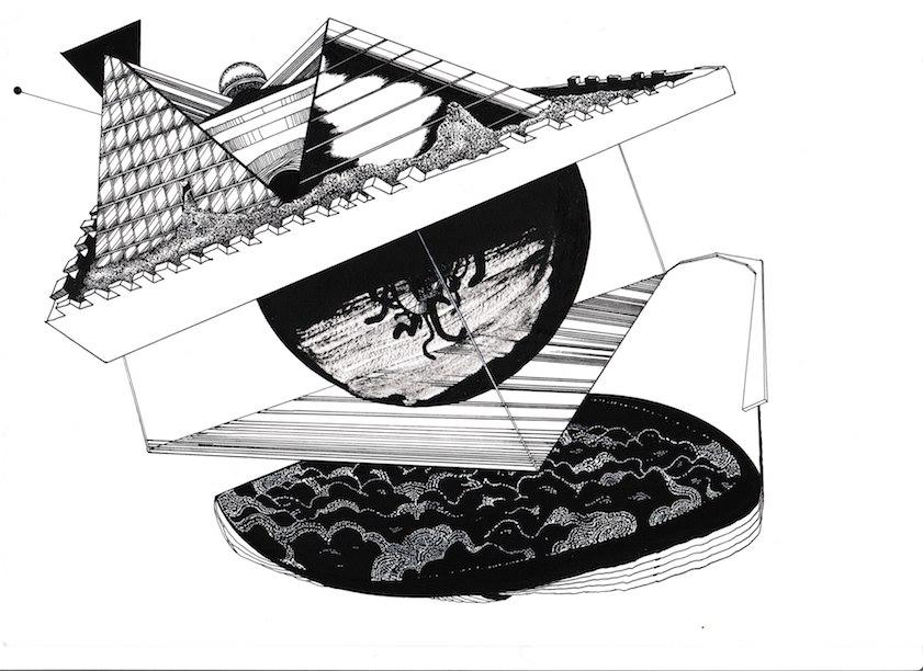 Seb_Sarti_Architecture impossible, 21cm par 27cm, dessin à l_encre de chine sur papier,72dpi